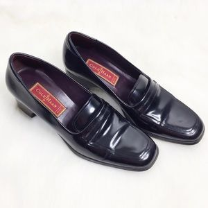 Cole Haan Black Leather Slip On Loafers